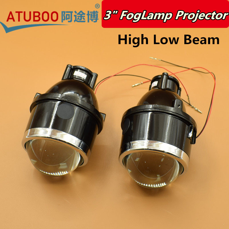 2pcs/Lot,Car Motorcycle Universal 3 Bi-xenon Fog Lamp Projector Lens Used H11 Hid Xenon Bulb Waterproof Fog light<br>