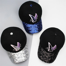New 2017 Butterfly Print Women's Baseball Cap Snapback Hats Sequin Cap Ajustable *Hip Hop Hats chapeau femme Fashion Accessories(China)