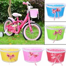 Eshylala 1PC Bike Front Basket Children Bicycle Cycle Flowery Shopping Stabilizers Bowknot Scooter Basket Handlebar Bag