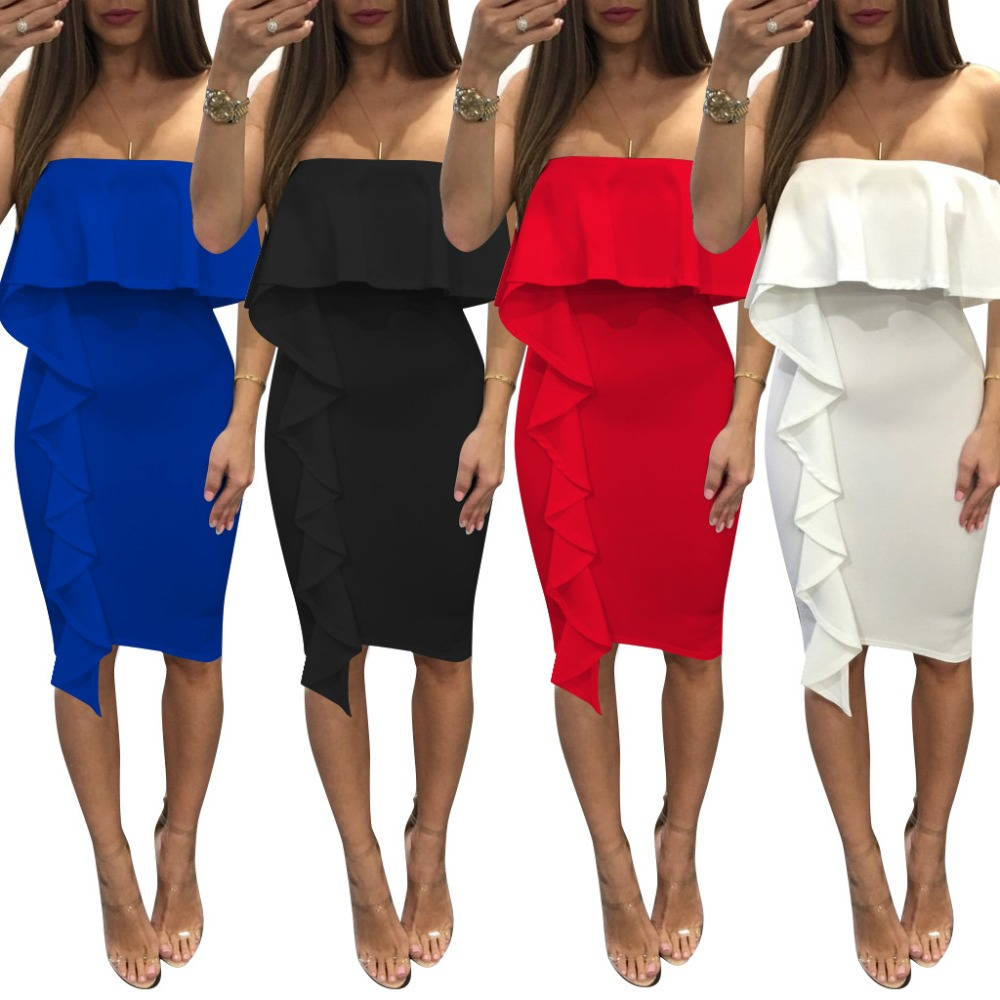 Pink Off The Shoulder Strapless Dresses Red Bodycon Elegant Luxury Noble Party Dress Women Bodycon Female Dress Summer 2017 New