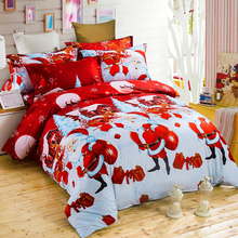 Cotton Bedding Set 3D Printed Cartoon Merry Christmas Gift Santa Claus Bedclothes Duvet Quilt Cover Bed Sheet Pillowcase