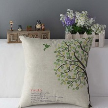 New Fashion Birds Cotton & Linen Home Room Decors Car Back Cushion Cover wholesale J10(China)