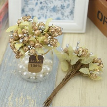 100pcs/lot Gold Mini Pearl Mulberry Stems Artificial Flower Stamen DIY Pistils For Flowers Wedding Scrapbooking Cake Decoration
