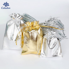 50pcs 7x9cm 9x12cm 13x18cm Silver Gold Color Metallic Foil Organza Pouches Christmas Wedding Party Favour Gifts Candy Bags