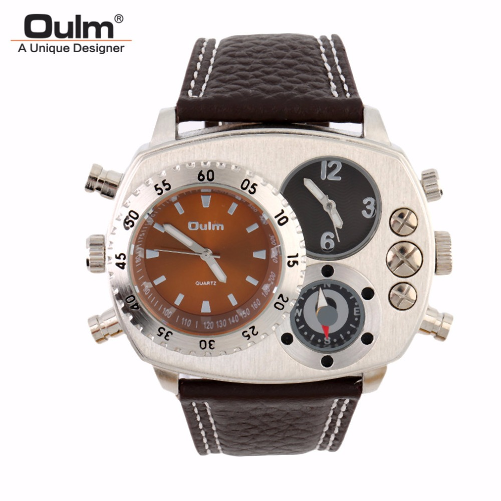 OULM Mens Quartz Watches Multifunctional Outdoor Adventure Fashion Military Double Movement 9865 New Casual Sports Wristwatch<br>