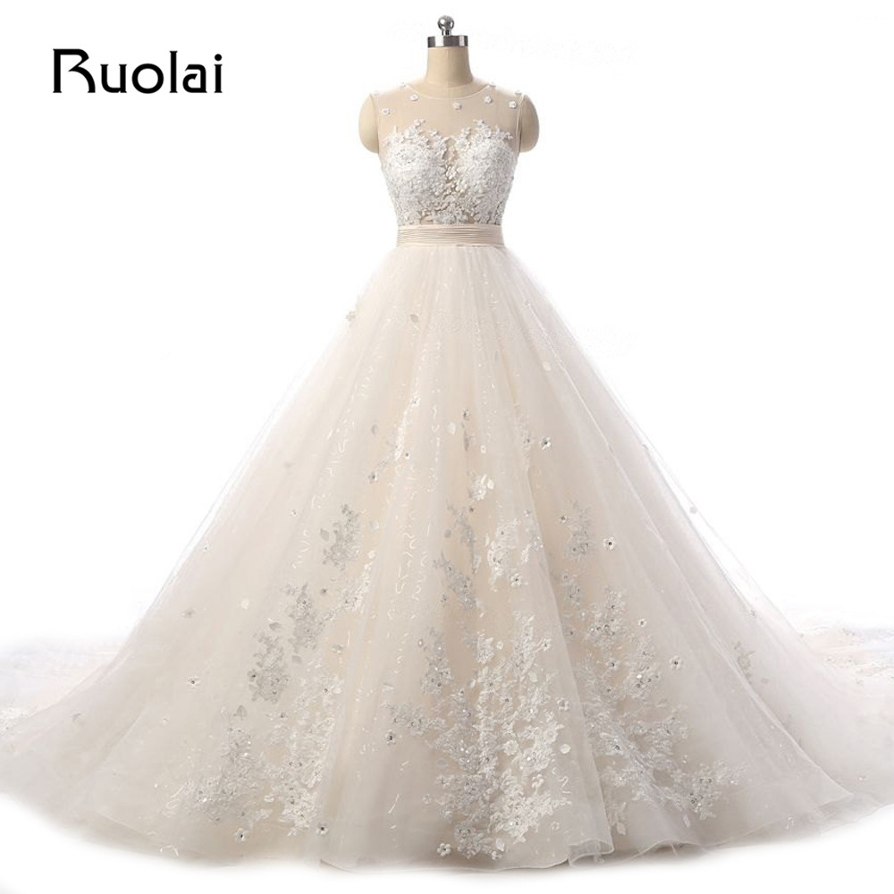 Real Picture Elegant Scoop Appliqued Beads Flower Wedding Dress Long Train Bridal Gown Wedding Ceremony Vestido de Novia ASAW51