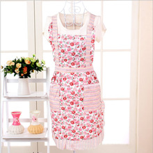 Sale 1PC Sleeveless Checked Floral Rose Polka Dot Women Lady Apron With Pocket For Kitchen Cooking(China)