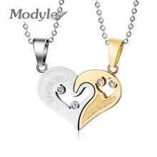 Modyle New Austrian Crystal Design Brand Heart Stainless Steel Necklaces & Pendants Fashion Jewelry for Women Wholesale(China)
