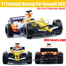 For Renault R28 F1 Formula Racing 1:32 Scale Diecast Alloy Metal Car Model Collection Model Pull Back Toys Car With Sound&Light