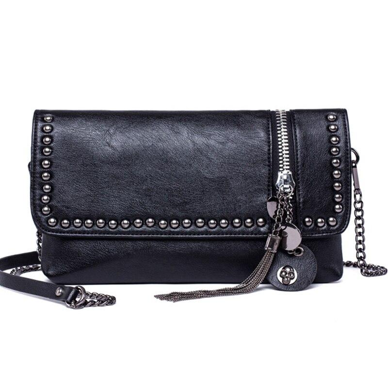 Women Messenger Bags Crossbody Women Bag Luxury Brand  Leather Cool Skull Rivet Tassel Bag Black Fashion 2017 Small Chains bag <br>