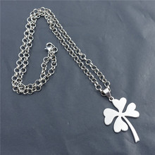 50m Link Chain Stainless Steel Four Leaf Grass Clover Pendant Necklace(China)