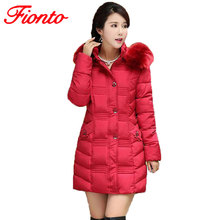 Winter Coats Women Cotton Warm Jacket Long Slim Parkas Ladies Padded Plus Size Winter Jackets Fur Collar Hooded Snow Wear SY551