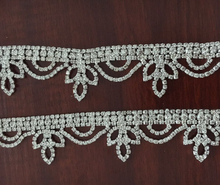 1 yard Hot Sale 1.2'' in Width Luxury Bling Clothing Bridal Dress Accessories Gold Silver Crystal Rhinestone Trim for Decoration
