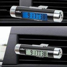Fashion Car LCD Digital electronic watch + thermometer auto clock cool styling
