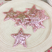 Kawaii Flatback DIY Pink Star With Glitter Resin Cabochons Flat Back Decoration Hair Bow Embellishments Crafts Making:39mm(China)