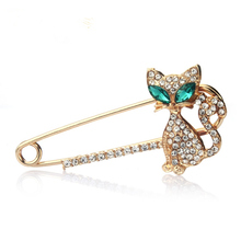 XZ022 2016 Crystal Brooch lapel pin Pins Accessories Green Kitten Women Wedding hijab pins Jewelry Corsage Gift Free Shipping