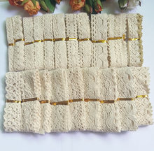 20 pcs/Piece mixed Knitted Cotton Lace Ribbon Beige Color DIY Handmade,Wedding Party/Craft & Gift Packing/Child Dress/Decoration(China)