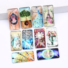 onwear 10pcs mixed owl peacock flower tree eiffel tower photo rectangle glass cabochon 19x38mm diy flatback jewerly accessories(China)