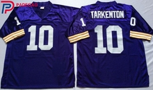 Embroidered Logo Fran Tarkenton 10 white purple throwback high school FOOTBALL JERSEY for fans gift cheap 1107-31(China)