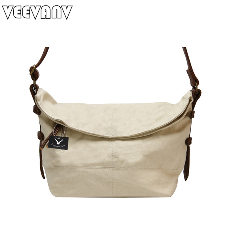 VEEVANV Canvas Women messenger bags fashion shoulder bag vintage crossbody bag for girls female casual school bag travel handbag<br>