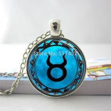 Zodiac Necklace Taurus Necklace Taurus Blue Moon Zodiac Symbol Astrology Horoscope Glass Tile Pendant Astrology  Necklace HZ1