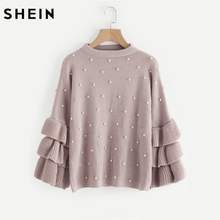 SHEIN Pearl Beaded Layered Ruffle Sleeve Loose Jumper Pink Crew Neck Long Sleeve Cute Women Sweaters and Pullovers(China)