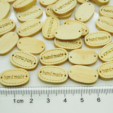 200pcs Small Handmade Nature Wood Labels 18mm Sewing Button Engraved Wood Tags for Kid Clothes,Bracelet Connector,Scrapbook(China)