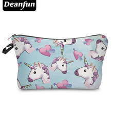 Deanfun 3D Printed Unicorn Cosmetic Bags Kawaii Style Colorful Gift Girls Portable Travel Necessary 50882(China)