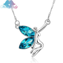Miss Lady Angle Wings Rhinestone Children Butterfly elves Necklaces & Pendants Wholesales Fashion Jewelry for women SY00108(China)