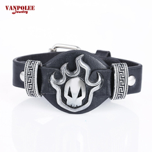 Steam Punk Metal Skull Bleach Leather Band Men Bracelet Red Black Steampunk Skeleton Bangle Armband Steampunk Jewelry Wholesale(China)