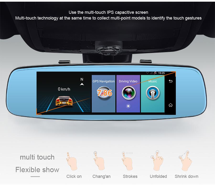 "Junsun 4G ADAS Car DVR Camera Digital Video recorder mirror 7.86"" Android 5.1 with two cameras dash cam Registrar black box 16GB 25"