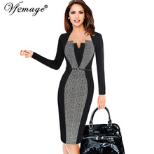 Vfemage Women Elegant Optical Illusion Patchwork Contrast Belted 2017 Vintage Slim Work Office Business Party Bodycon Dress 6717(China)