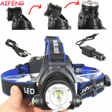 AIFENG Headlamps T6 10W Led Headlamps Zoom Adjustable Headlight 18650 Battery Rechargeable Headlamps High Low Strobe For Fishing(China)