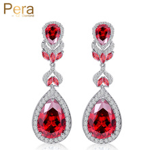 Pera Hot Selling Pera Cut Jewelry Silver Color Red Cubic Zirconia Crystal Long Water Big Drop Women Earrings For Gift E222(China)