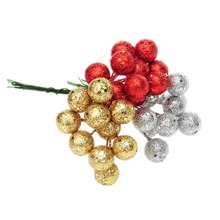 10Pcs/lot Christmas Tree Hanging Baubles Fruit Ball Hanging Balls Party Decoration Ornament Red Sliver Gold New(China)