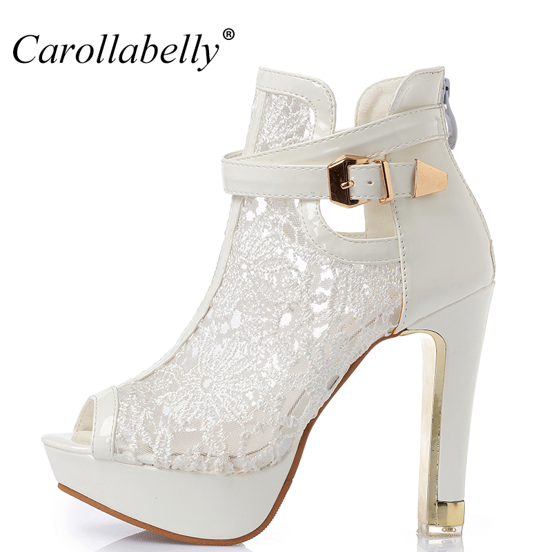 2017 New  Lace Women Platform Pumps Sandals White Mesh Black High Heels Peep Toe Shoes<br>