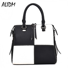 ALIDM Women's black and white grid handbag brand Michael Handbag 2017 fashion ladies handbag ladies PU leather stitching handbag(China)