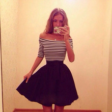 Europe and the United States sell lots of new women's stripe splicing shoulder dress sexy tall waist a word