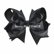 $1/1PCS 5 inches 3 Layers Solid Black  Bows With 6cm Clips Boutique Ribbon Bows For Girls Hair Accessories