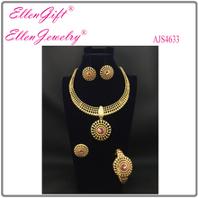 DHL Free Shipping Factory Price High Quality Fashion Gold Wedding Jewelry Set AJS4633(China)