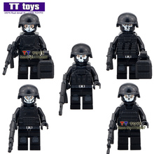 Duty Call 5pcs/lot Military Series Swat Gun Army Brick Arms For City Police Mini Dolls Building Block Children X'mas Gifts Toy