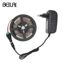 BEILAI SMD 3014 Fita LED Strip Waterproof 5M 300LED DC 12V LED Light Strips Flexible Neon Tape Luz Lighting add 2A Power Adapter