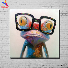Creative Frog Pic Hand Painted Modern Abstract Oil Painting On Canvas Wall Art for Home Living Room Decoration No Framed CT002(China)