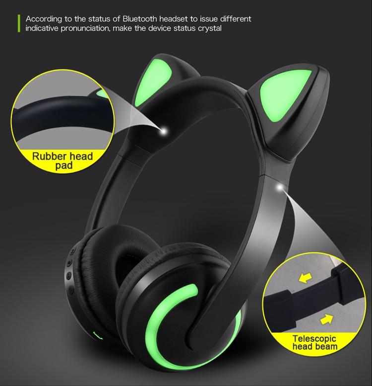 E2232 Cuffie per orecchie di gatto con luce LED lampeggiante Cosplay (7)