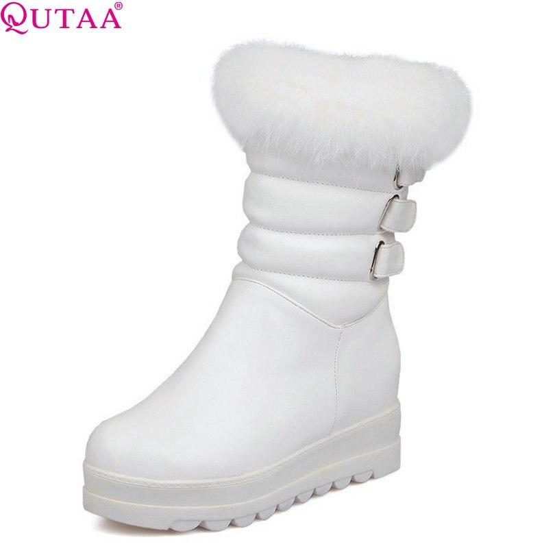 QUTAA Women Pumps Winter Snow Boots Autumn Women Boots Low Heels Women Fur Boots Platform Ladies Shoes Size 34-43<br>