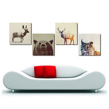 Watercolor Nordic Animal Lion Bear Panda Art Prints Poster Hipster Wall Art Canvas Painting Room Home Decor Modular Pictures(China)