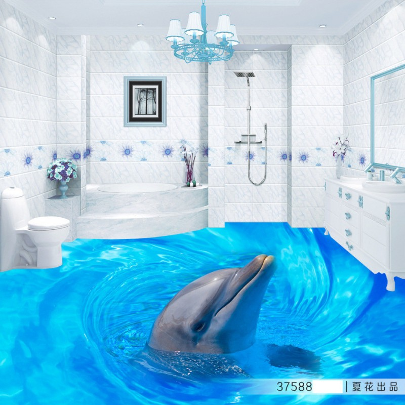 Free Shipping Dolphins surfaced 3D flooring sticker wallpaper bathroom office study kitchen floor mural<br><br>Aliexpress
