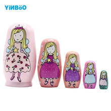 Wooden Russian Nesting Doll 5 Layer Matryoshka Dolls Princess Home Decoration Craft Nice Gift(China)