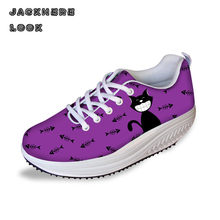 JACKHERELOOK 3d Silhouette Cat Animal Prints Platform Shoes Women Fashion Women's Casual Height Increasing Swing Shoes Shape Up(China)