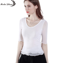 Moda Jihan Women Shirts Half Sleeve Stretchable Bottoming Shirt Female Summer Mesh Tops White Trimming Tees Plus Size Slim Style(China)